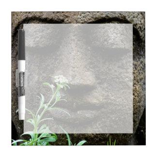 Stone garden statue with flower dry erase board