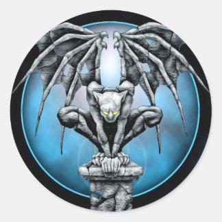 Stone Gargoyle with Blue Moon Classic Round Sticker