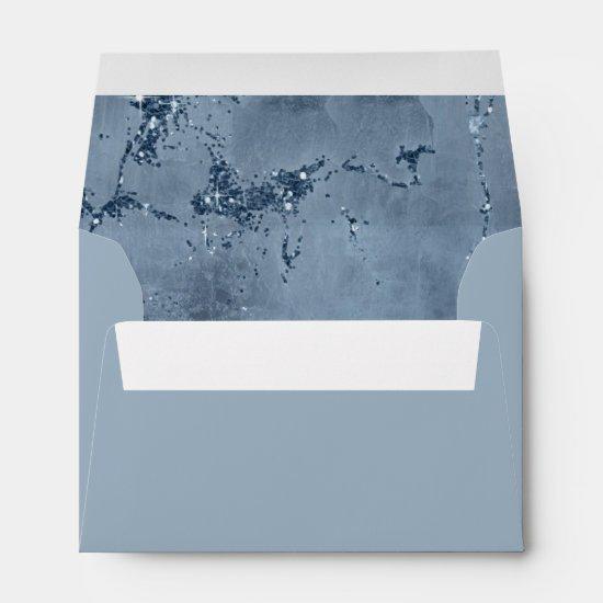 Stone Glitter Wedding Dusty Blue ID647 Envelope