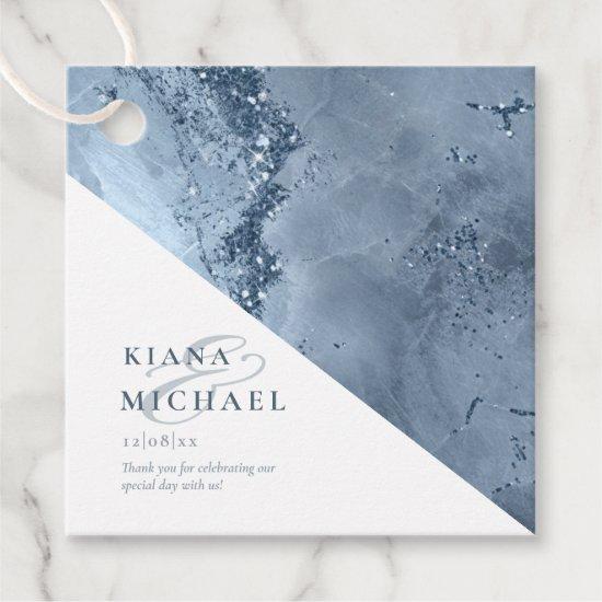 Stone Glitter Wedding Dusty Blue ID647 Favor Tags