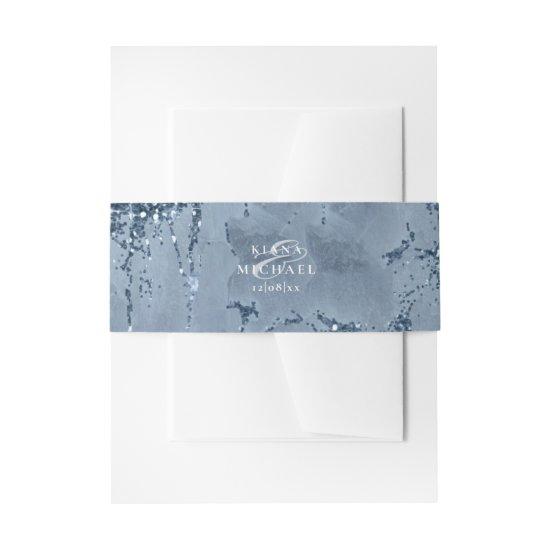 Stone Glitter Wedding Dusty Blue ID647 Invitation Belly Band