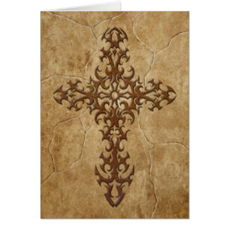 Stone Gothic Cross Greeting Cards