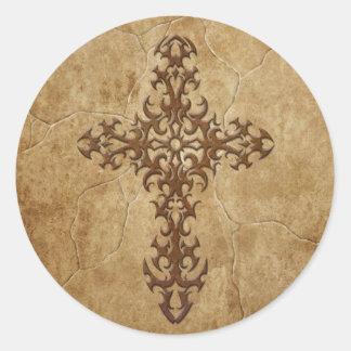 Stone Gothic Cross Classic Round Sticker