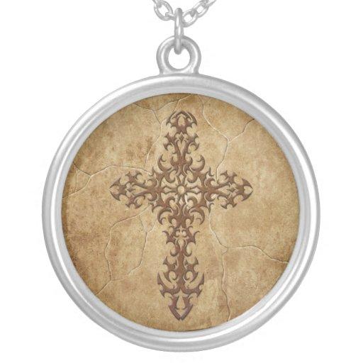 Stone Gothic Cross Round Pendant Necklace