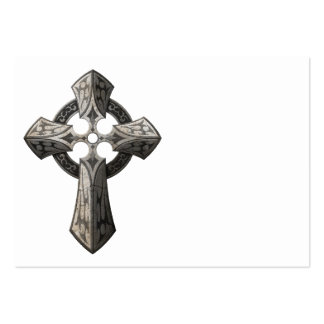 Stone Gothic Cross with Tribal Inlays Business Card Templates