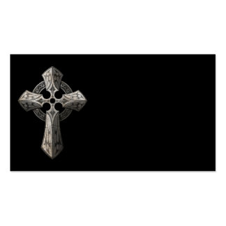 Stone Gothic Cross with Tribal Inlays on Black Business Card Template