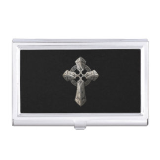 Stone Gothic Cross with Tribal Inlays on Black Business Card Holder