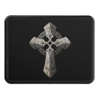 Stone Gothic Cross with Tribal Inlays on Black Tow Hitch Cover