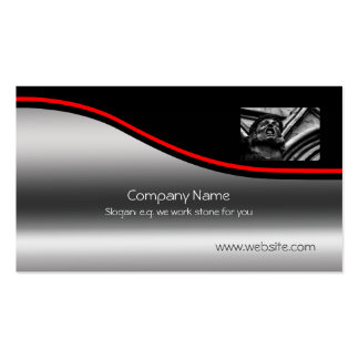 Stone Gothic Gargoyle, red swoosh, metallic-effect Double-Sided Standard Business Cards (Pack Of 100)