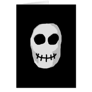 Stone Grey and Black Skull. Primitive Style. Card