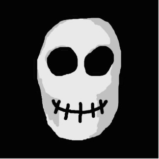 Stone Grey and Black Skull. Primitive Style. Cutout