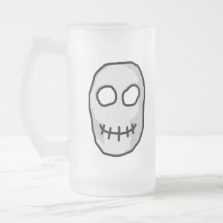 Stone Grey and Black Skull. Primitive Style. Frosted Glass Beer Mug