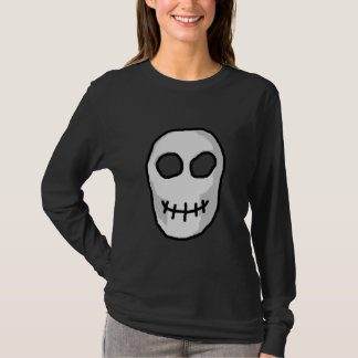 Stone Grey and Black Skull. Primitive Style. T-Shirt