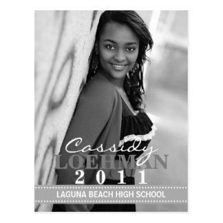 Stone Grey Custom Photo Graduation Announcement Postcard