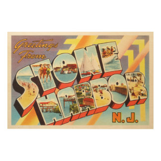 Stone Harbor New Jersey NJ Old Vintage Postcard- Wood Wall Art