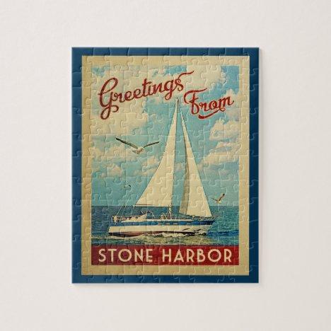 Stone Harbor Sailboat Vintage Travel New Jersey Jigsaw Puzzle