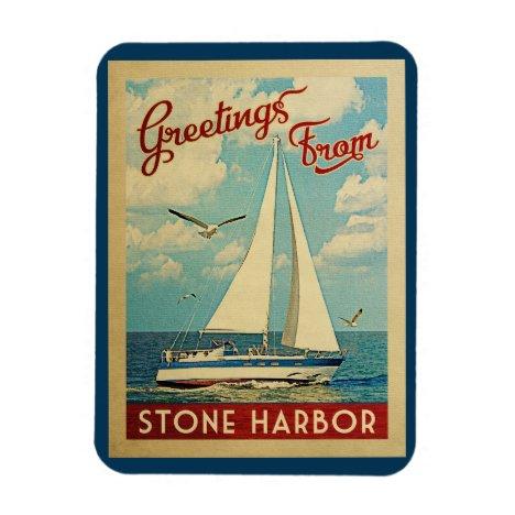 Stone Harbor Sailboat Vintage Travel New Jersey Magnet