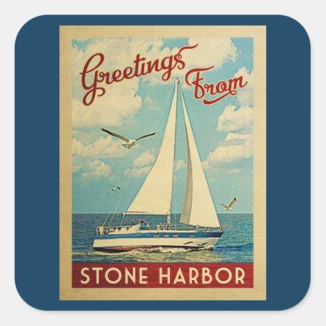 Stone Harbor Sailboat Vintage Travel New Jersey Square Sticker