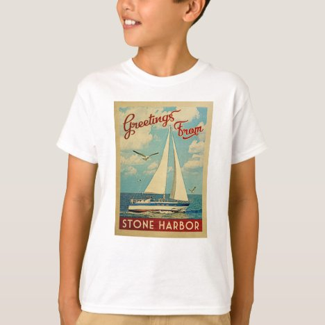 Stone Harbor Sailboat Vintage Travel New Jersey T-Shirt
