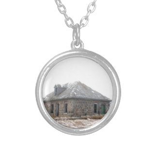 Stone Home abandoned on the prairies Round Pendant Necklace