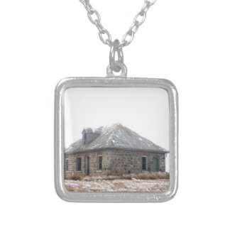 Stone Home abandoned on the prairies Square Pendant Necklace