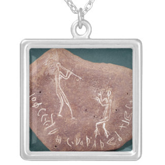 Stone inscribed with a dancer silver plated necklace