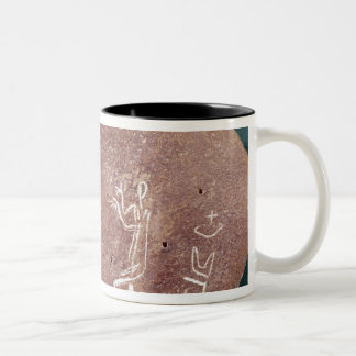 Stone inscribed with a dancer Two-Tone coffee mug