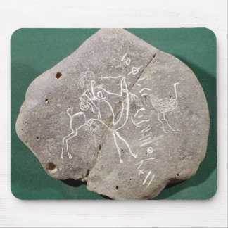 Stone inscribed with a hunter in the desert mouse pad