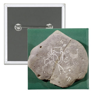 Stone inscribed with a hunter in the desert pinback button
