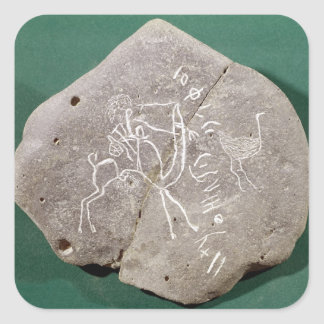 Stone inscribed with a hunter in the desert square sticker