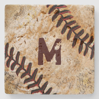 Stone Jersey Number or Monogram Baseball Coasters