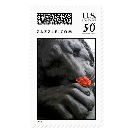 Stone Lion and Rose Postage