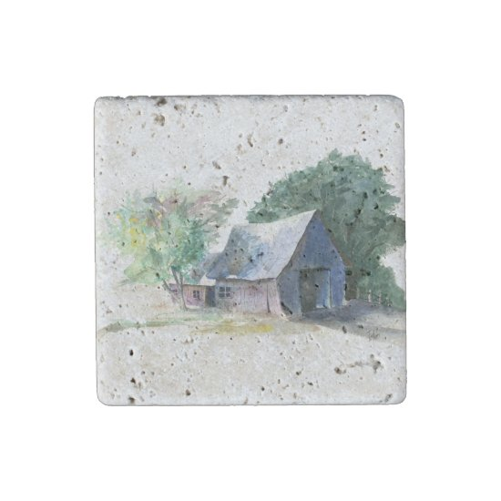 Stone Magnet - Rural Barn Painting