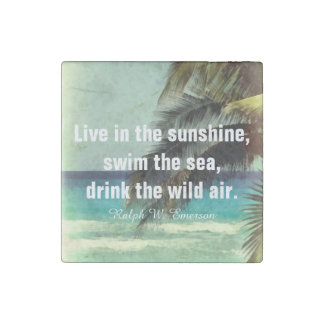 stone magnet with beach art and Emerson quote