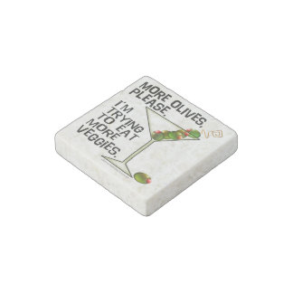 STONE MAGNETS - More Olives. Eating Veggies! Stone Magnet