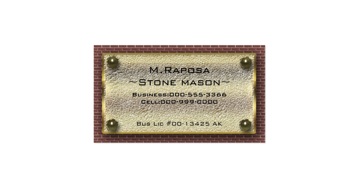 stone mason business card