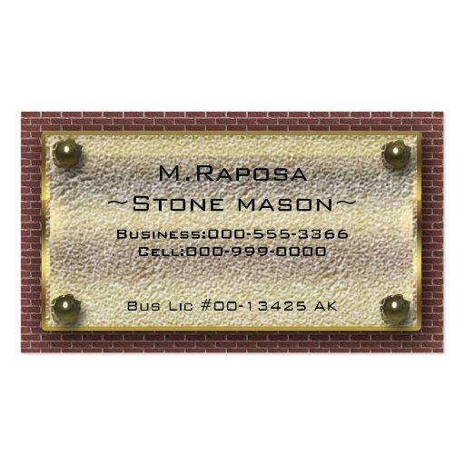 stone mason business cards