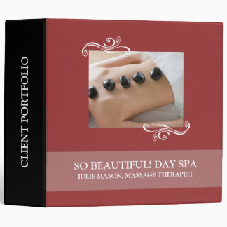 Stone Massage Therapist Day Spa Client Portfolio 3 Ring Binder