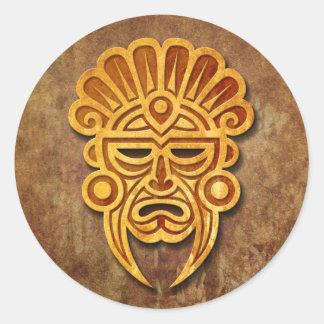 Stone Mayan Mask Classic Round Sticker