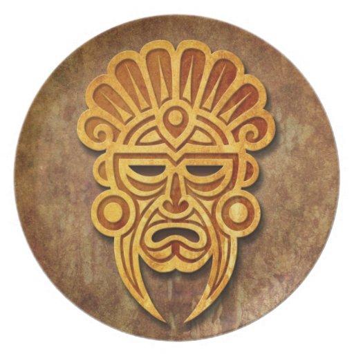 Stone Mayan Mask Dinner Plates   Zazzle