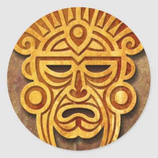 Stone Mayan Mask, full Classic Round Sticker