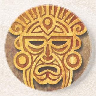 Stone Mayan Mask, full Beverage Coaster