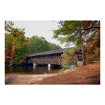 Stone Mountain Covered Bridge At Autumn Season Poster