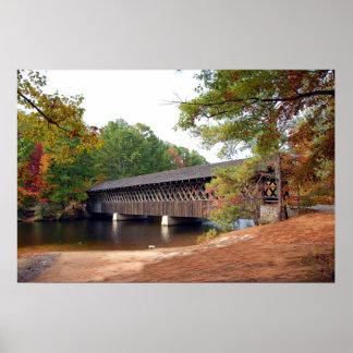Stone Mountain Covered Bridge At Autumn Season Print