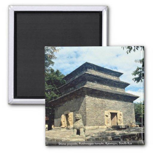 Stone pagoda, Punhwagsa temple, Kyongju, South Kor Magnets