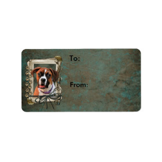 Stone Paws - Boxer - Lucy Address Label
