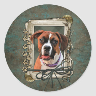 Stone Paws - Boxer - Lucy Classic Round Sticker