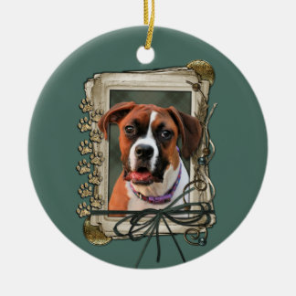Stone Paws - Boxer - Lucy Double-Sided Ceramic Round Christmas Ornament