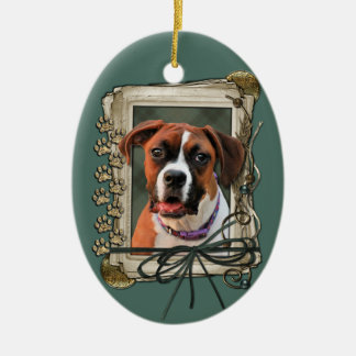Stone Paws - Boxer - Lucy Double-Sided Oval Ceramic Christmas Ornament