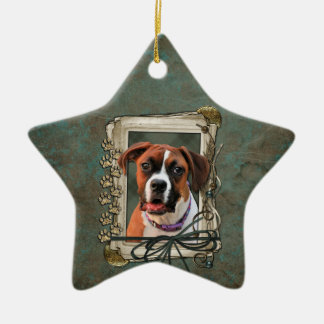 Stone Paws - Boxer - Lucy Double-Sided Star Ceramic Christmas Ornament